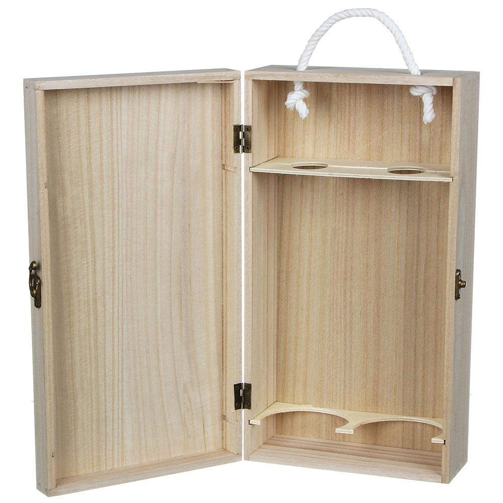 Коробка для вина подарочная на 2 бутылки, 35х9,5х19 см, дерево