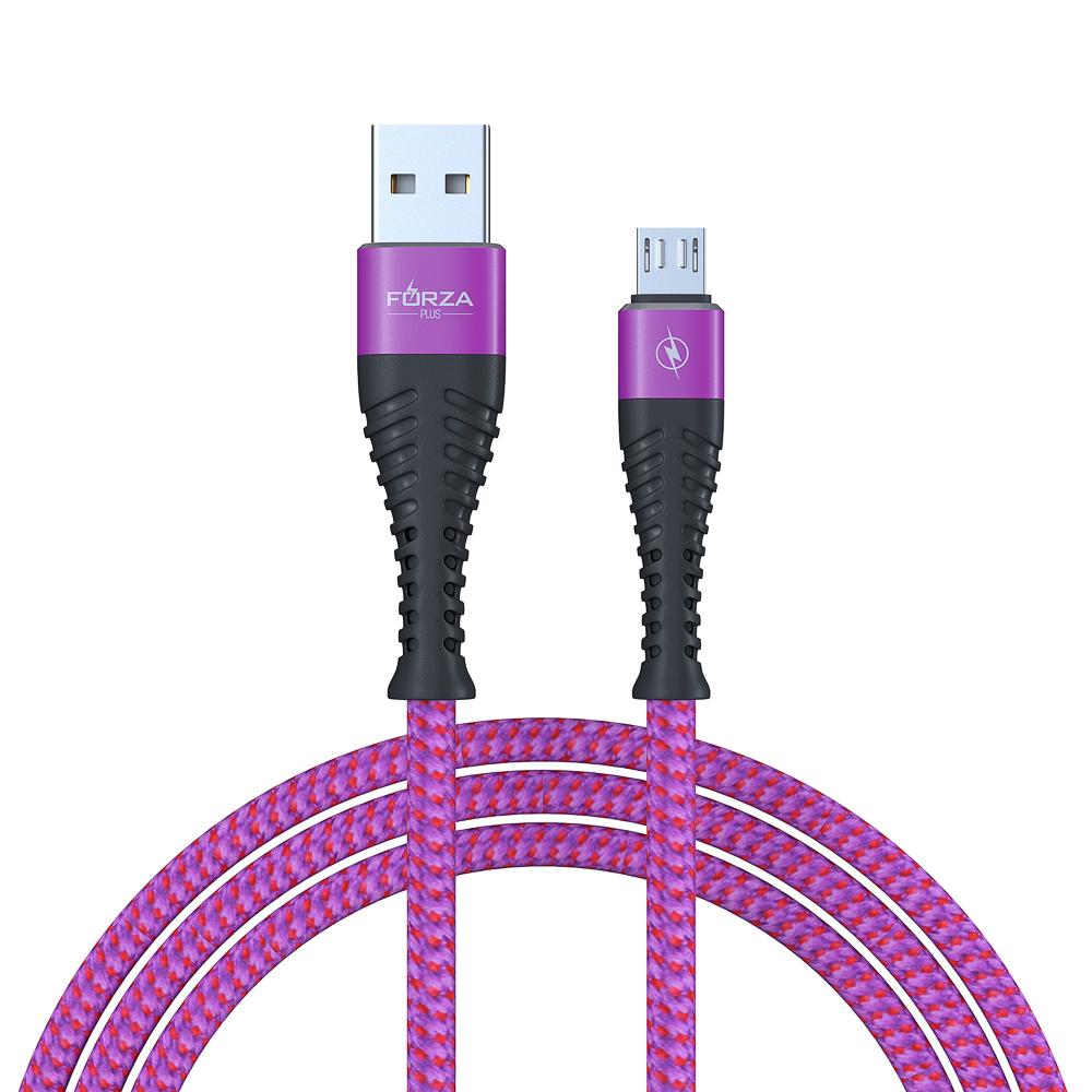 FORZA Кабель для зарядки телефона, спиральная тканная оплетка, micro USB, 2А, 1м, пластик