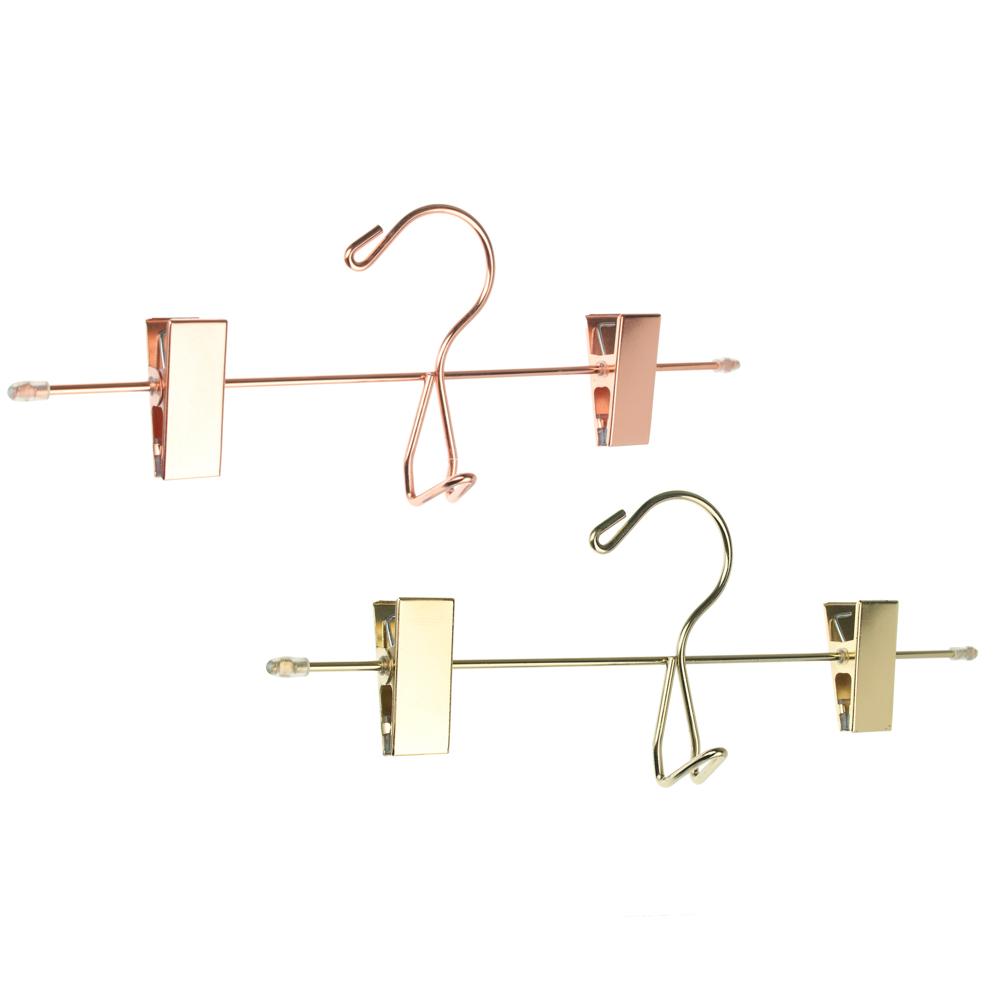 VETTA Вешалка металлическая для брюк/юбок с клипсами 30см, 2 цвета: розовое золото, золото