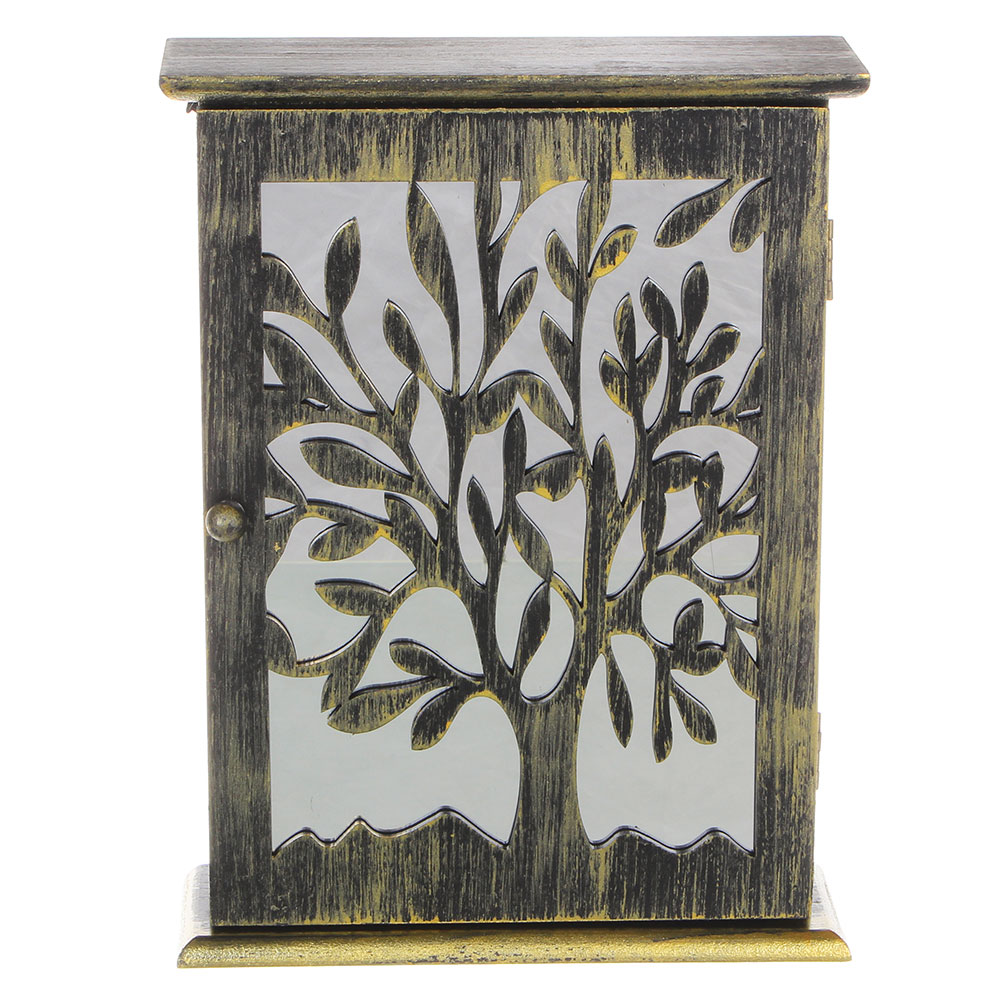 Ключница закрытая, на 6 крючков, с деревом, 26,5х20х7 см, МДФ