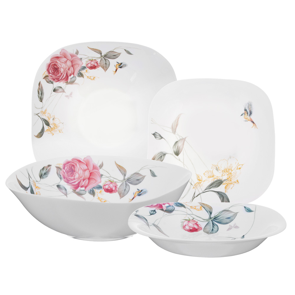MILLIMI Анета Набор столовой посуды 13 пр., опаловое стекло, квадратная форма, 19019