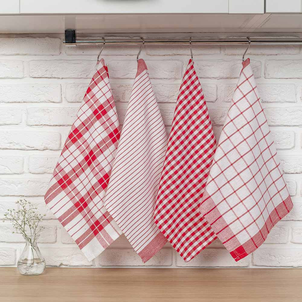 "PROVANCE Комплект полотенец кухонных 4шт, 75% хлопок, 25% ПЭ 45х60см, ""Классика"""