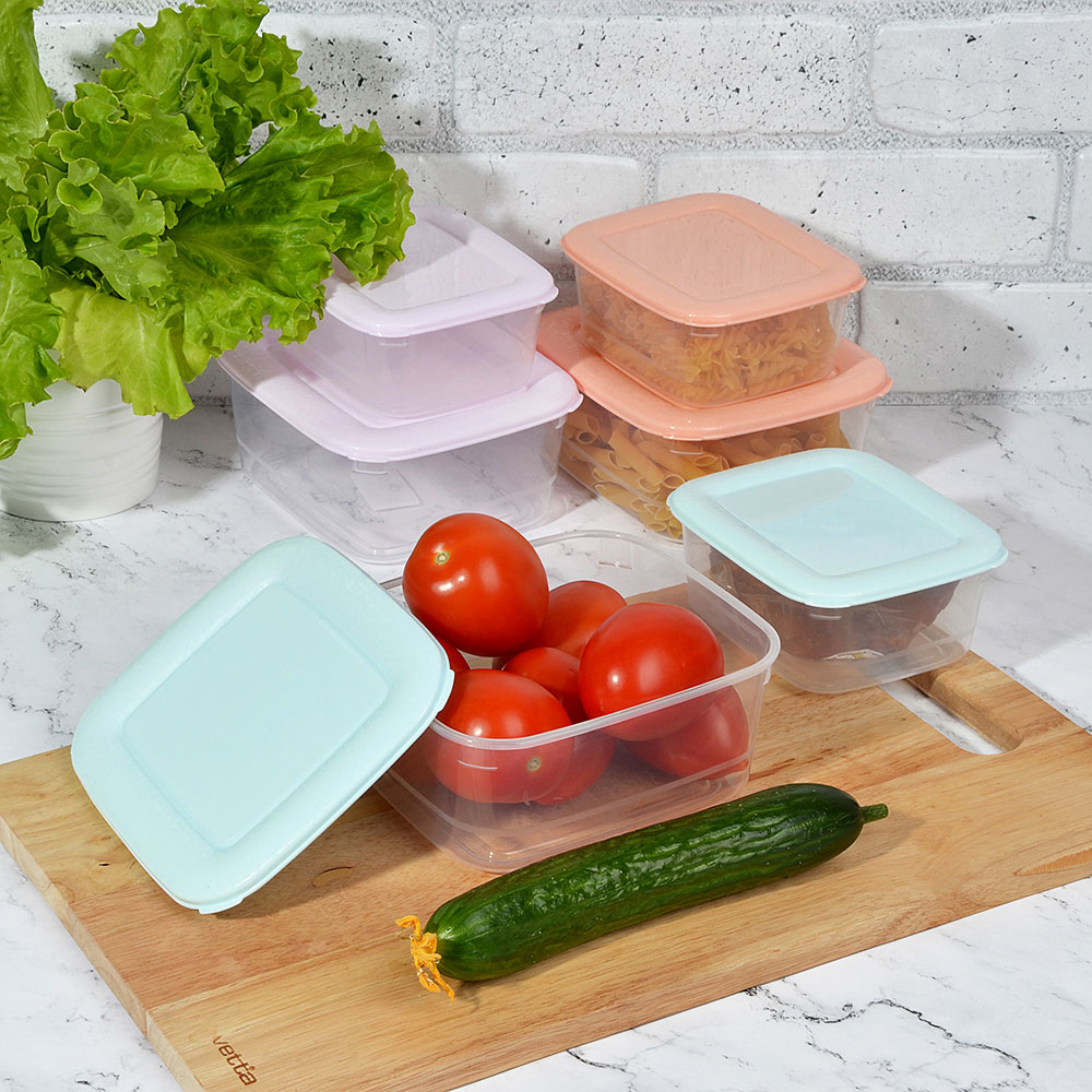 Набор контейнеров квадратных, 2шт, 0,6л+1,1л, пластик, 3 цвета