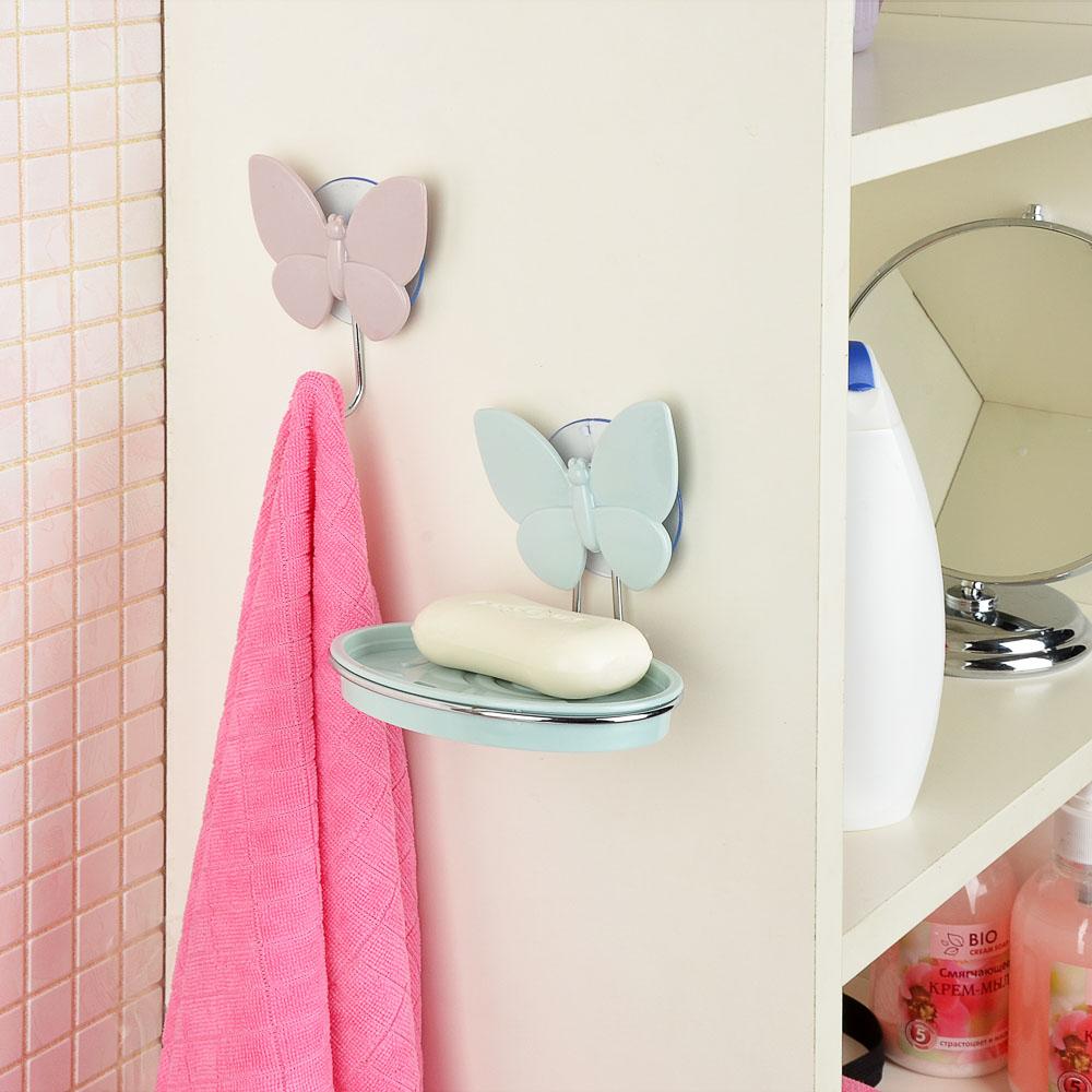 VETTA Романтика Набор крючков для полотенец 2 шт на присоске, пластик, 8x9,5см, 3 цвета