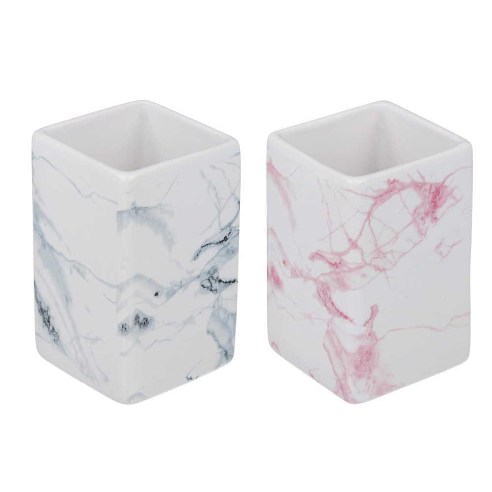 """VETTA Стакан для ванной комнаты, """"Мрамор"""", керамика, 2 цвета"""