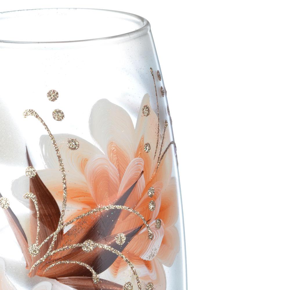 PASABAHCE Ваза стеклянная с узорами, ручная роспись, 25х9 см, 6 дизайнов