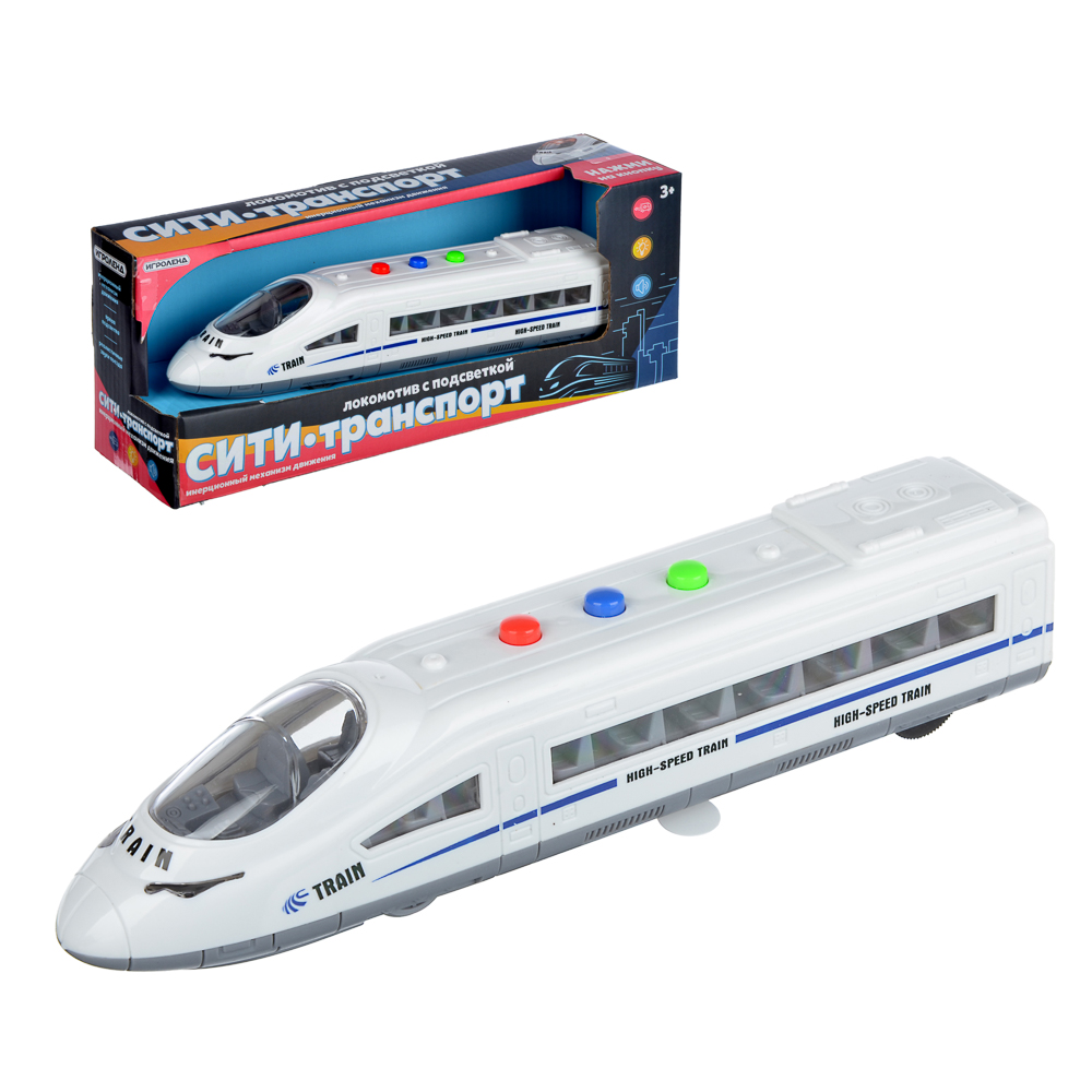 ИГРОЛЕНД Игрушка в виде локомотива, свет, звук, 3хAG13, пластик, 21х5х4см