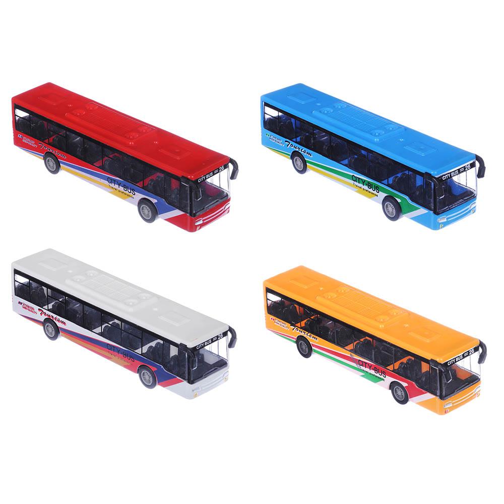 ИГРОЛЕНД Автобус инерционный, металл, пластик, 15х3,3х3,3см, 4 дизайна
