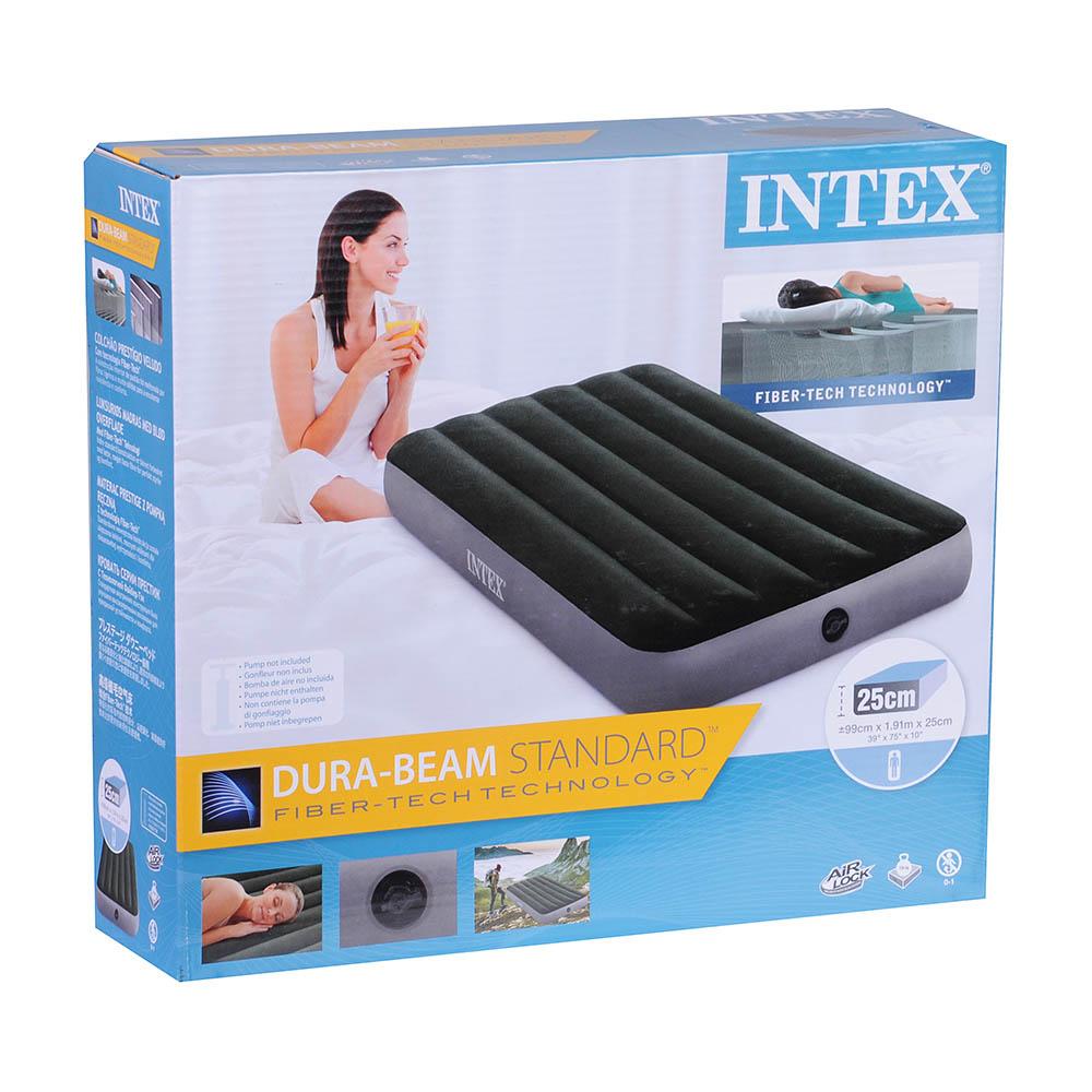 INTEX Кровать надувная DOWNY BED(fiber-tech), 99x191x25см, ПВХ, 64107