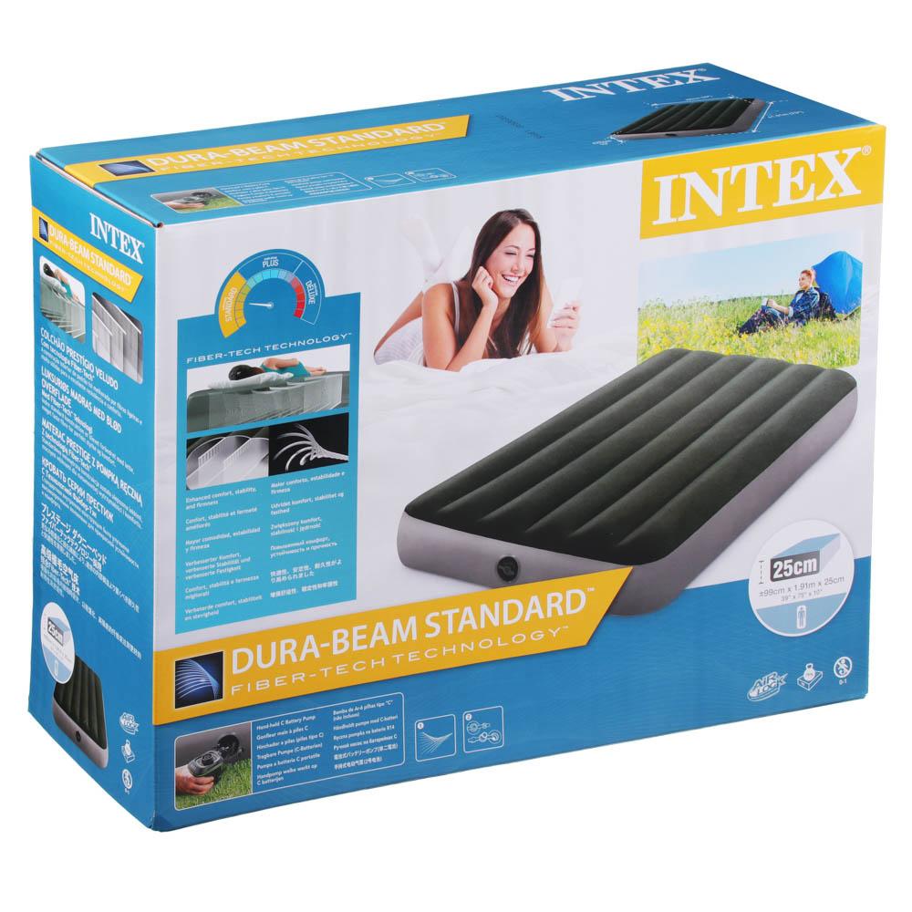 INTEX Кровать надувная DOWNY BED TWIN, (fiber-tech), насос на батарейках, 99x191x25см, ПВХ, 64777