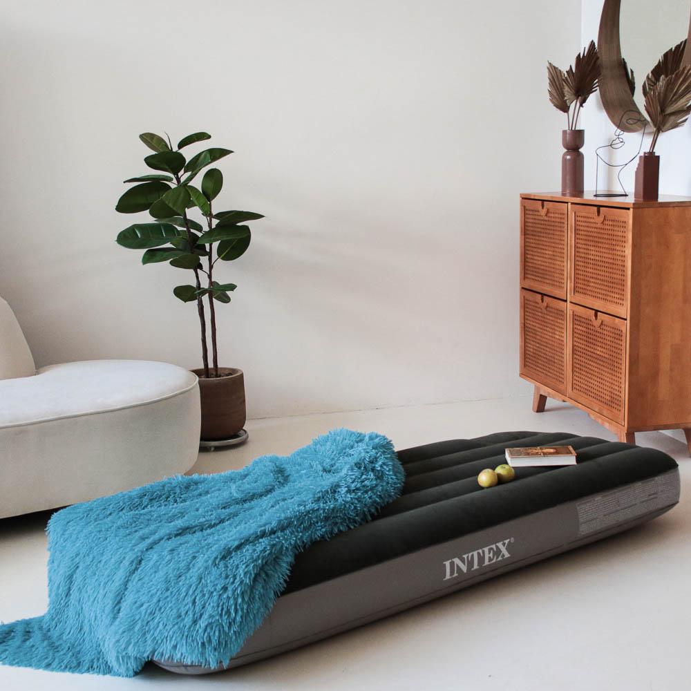 INTEX Кровать надувная DOWNY BED, (fiber-tech), встроенный ножной насос, 76x191x25см, ПВХ, 64760