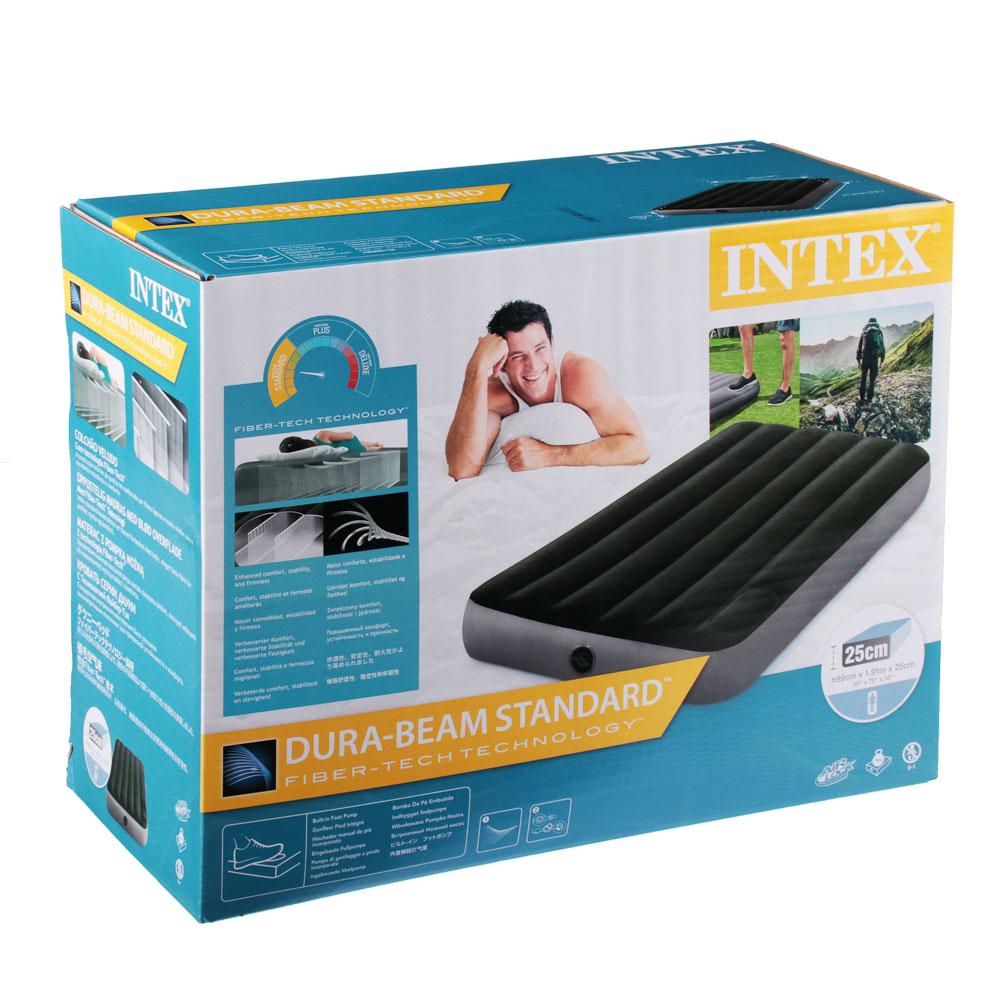 INTEX Кровать надувная DOWNY BED, (fiber-tech), встроенный ножной насос, 99x191x25см, ПВХ, 64761