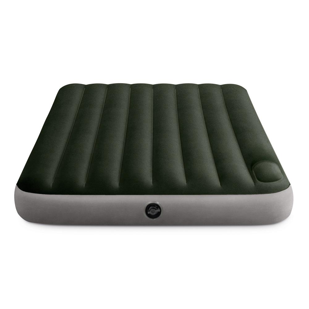 INTEX Кровать надувная DOWNY BED, (fiber-tech) встроенный ножной насос, 137x191x25см, ПВХ, 64762