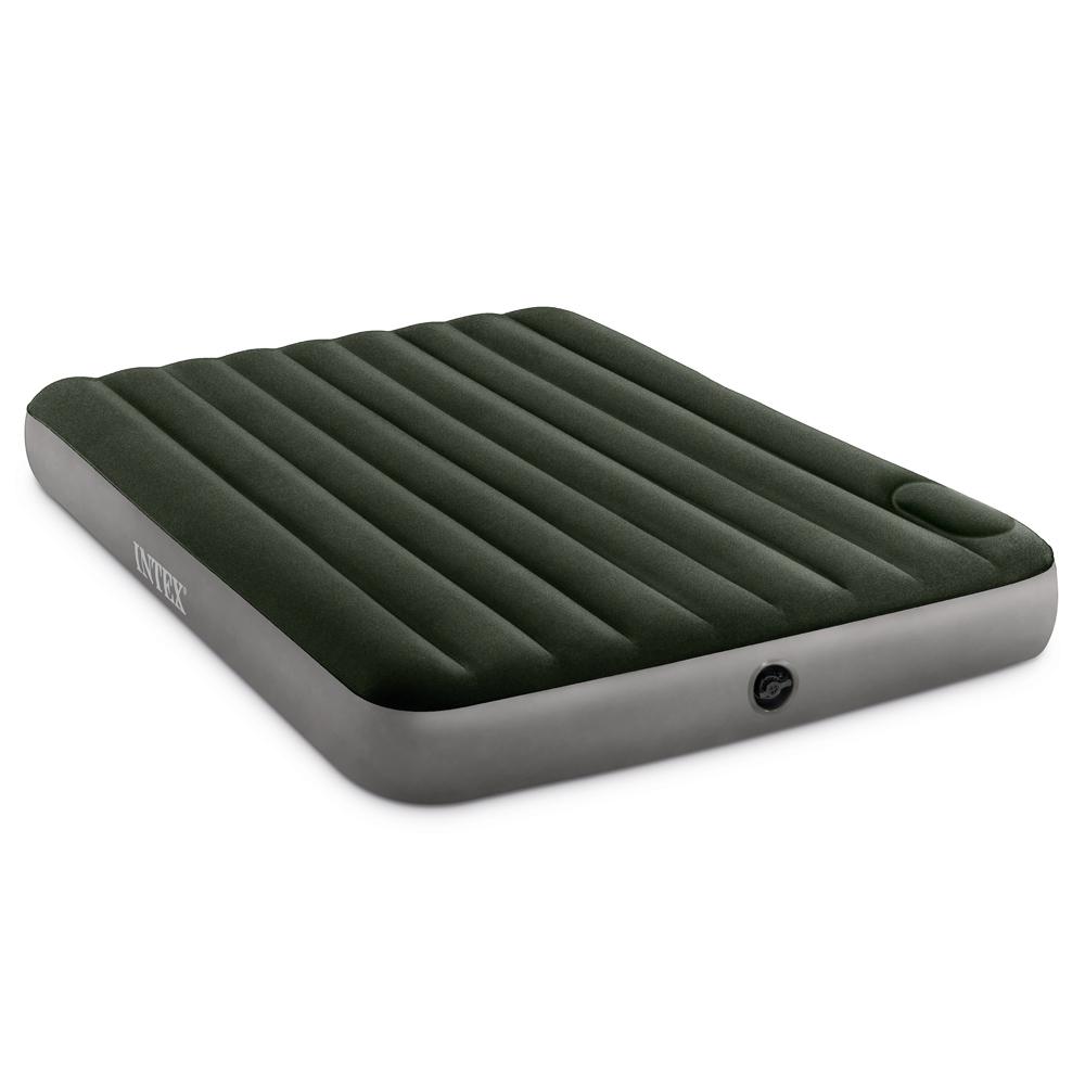 INTEX Кровать надувная DOWNY BED, (fiber-tech) встроенный ножной насос, 152x203x25см, ПВХ, 64763