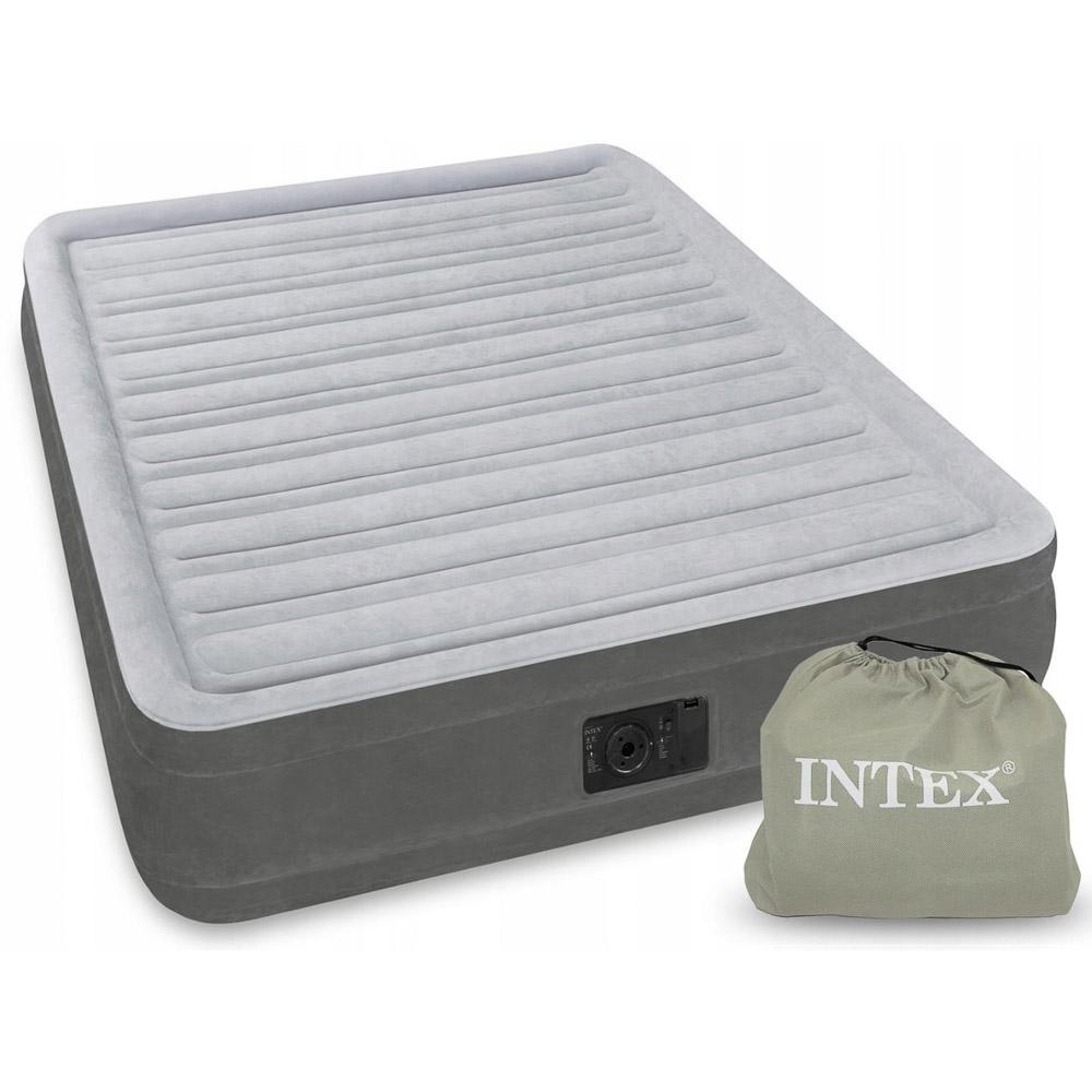 INTEX Кровать надувная COMFORT -PLUSH, встроенный электронасос, 220в, 152x203x33см, ПВХ, 67770