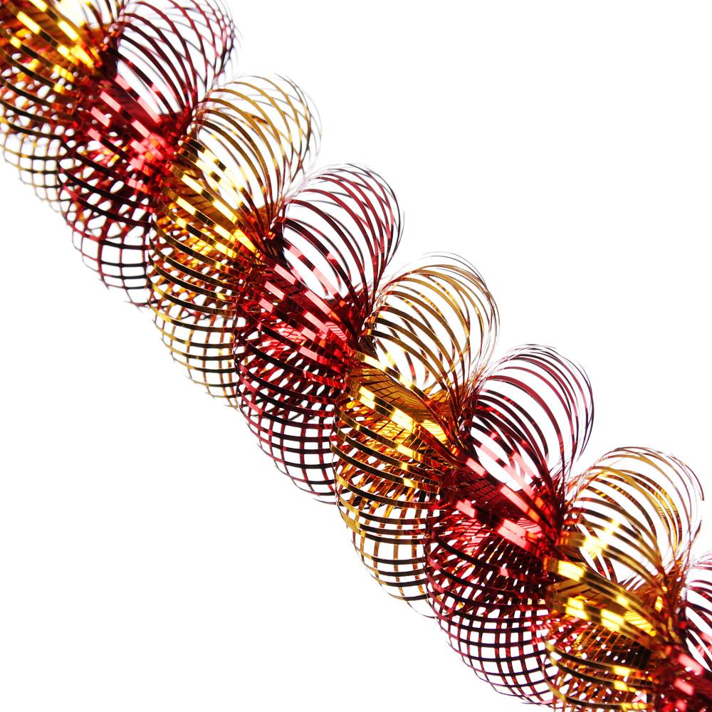 "Мишура № 21,"" Спираль двухцветная"", фольга, 200х3,5+3,5см, 7 цветов, арт. А4019Д"