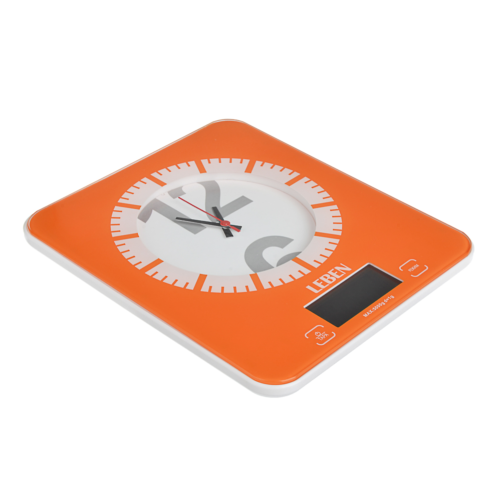 LEBEN Весы кухонные электронные с часами, макс.нагр.до 5кг (точн.измер. 1 гр), пластик, 2 цвета