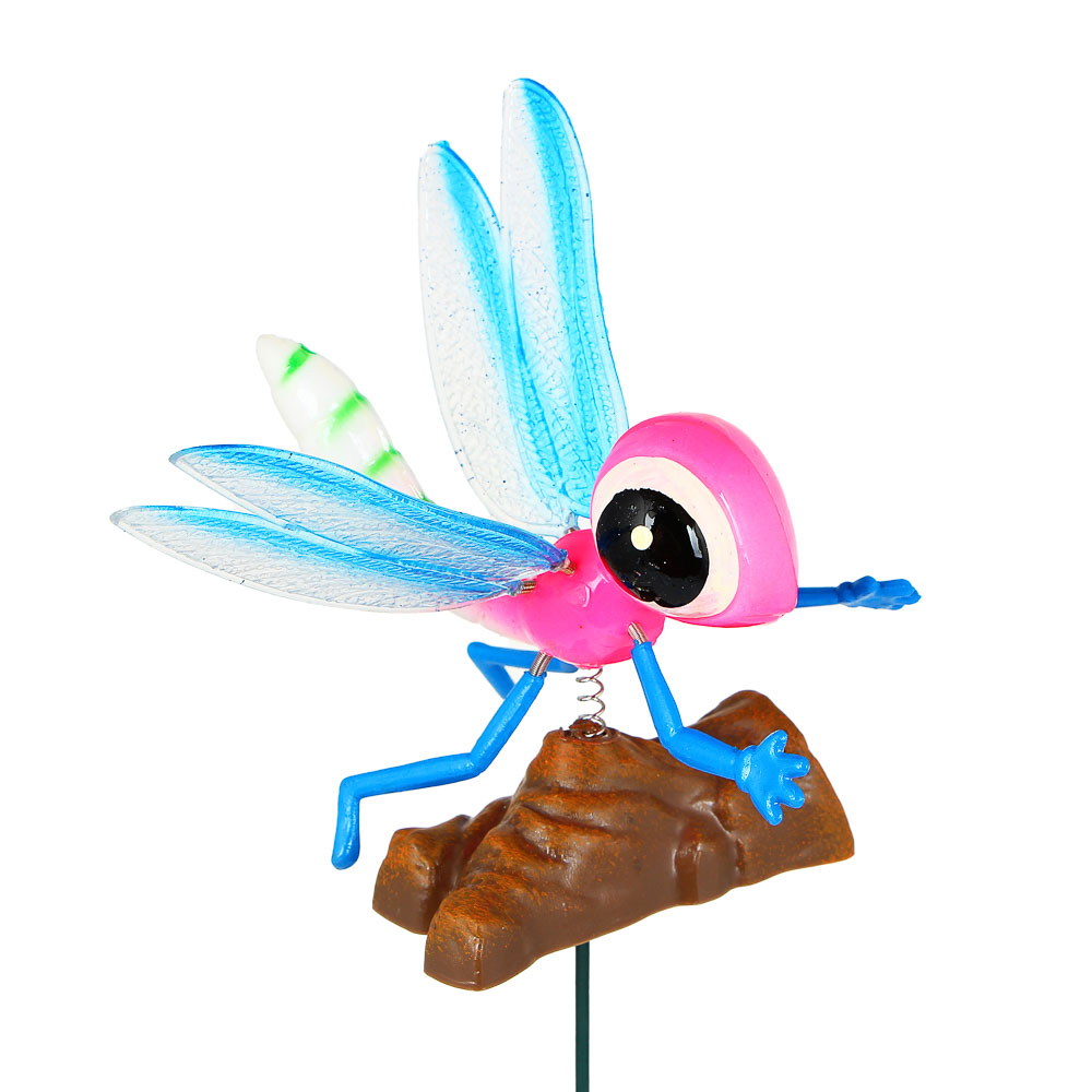"INBLOOM Фигурка на стержне 60см ""Глянцевая бабочка"", 20х16см, PS, металл, 4 цвета"