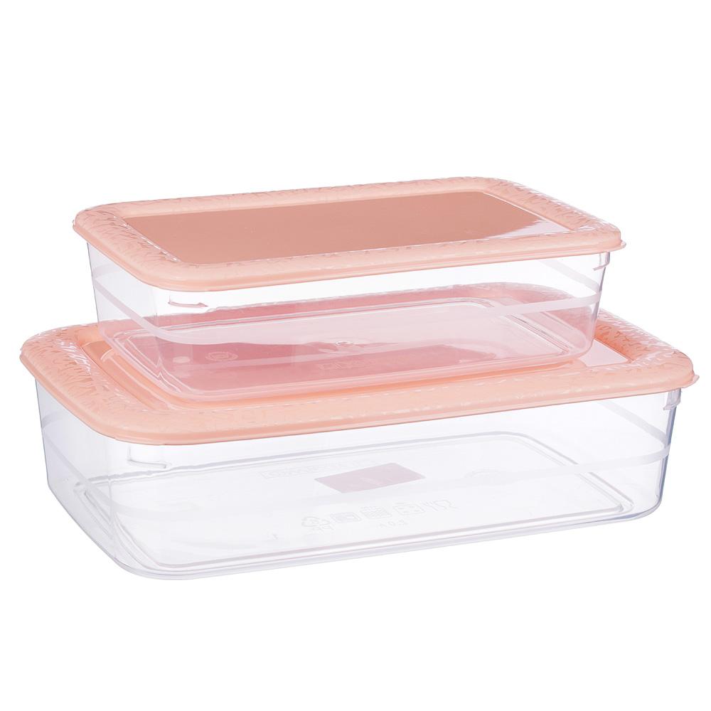 Набор контейнеров прямоугольных, 2шт, 1л+2л, пластик, 3 цвета