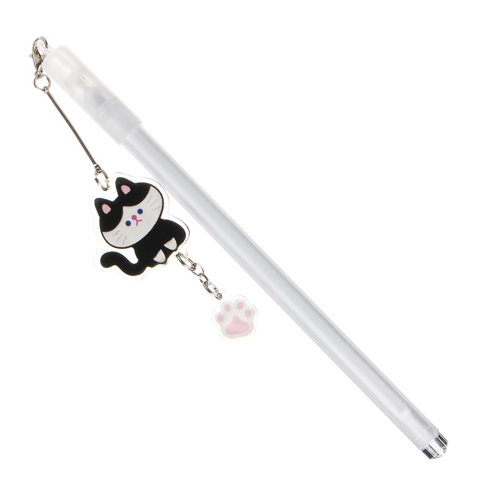 Ручка гелевая синяя с подвеской - брелоком в форме котика, 17,5см, 0,5мм, пластик, 3 дизайна