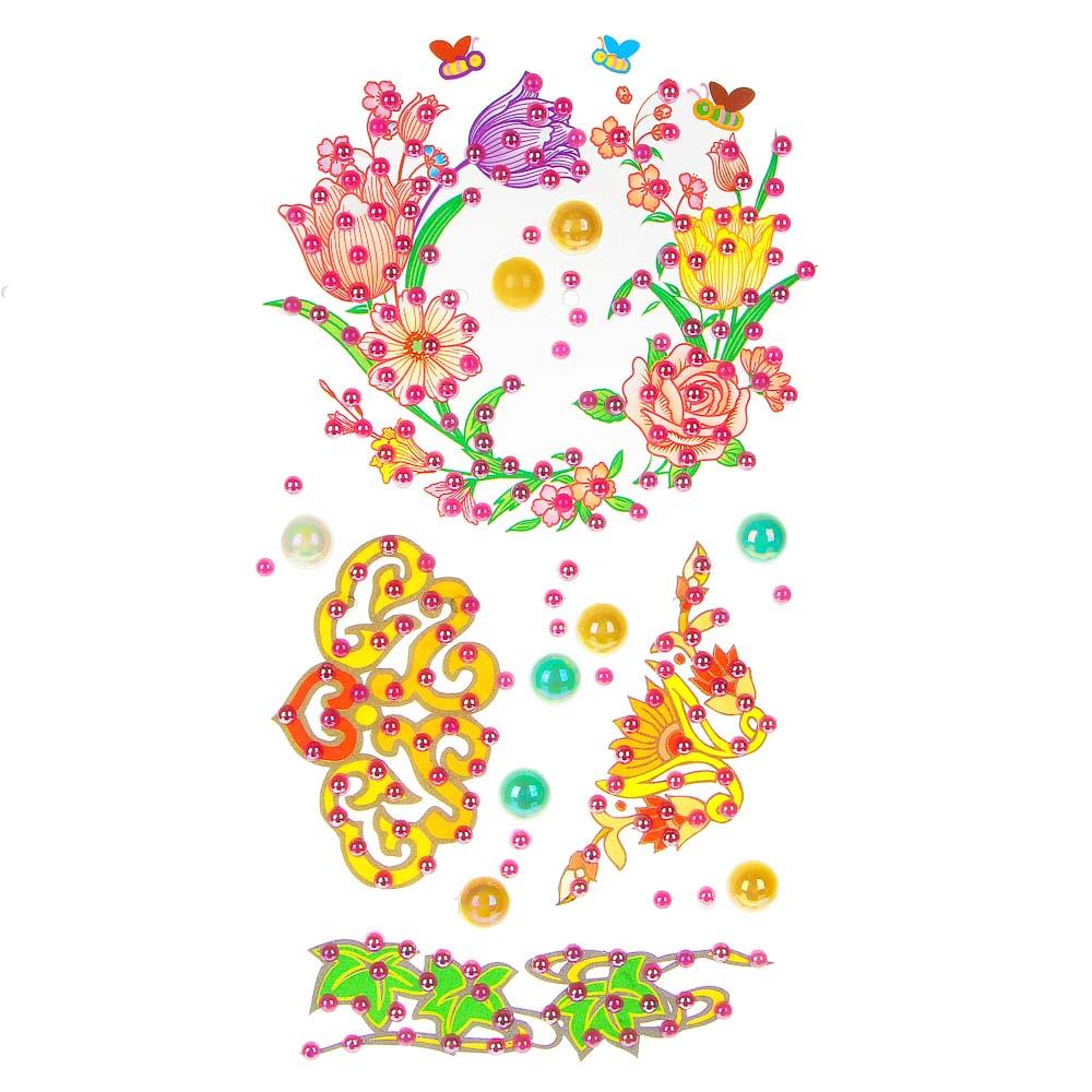 LADECOR Наклейка декоративная фигурные стразы, 10,5х26 см, ПВХ, 8 дизайнов