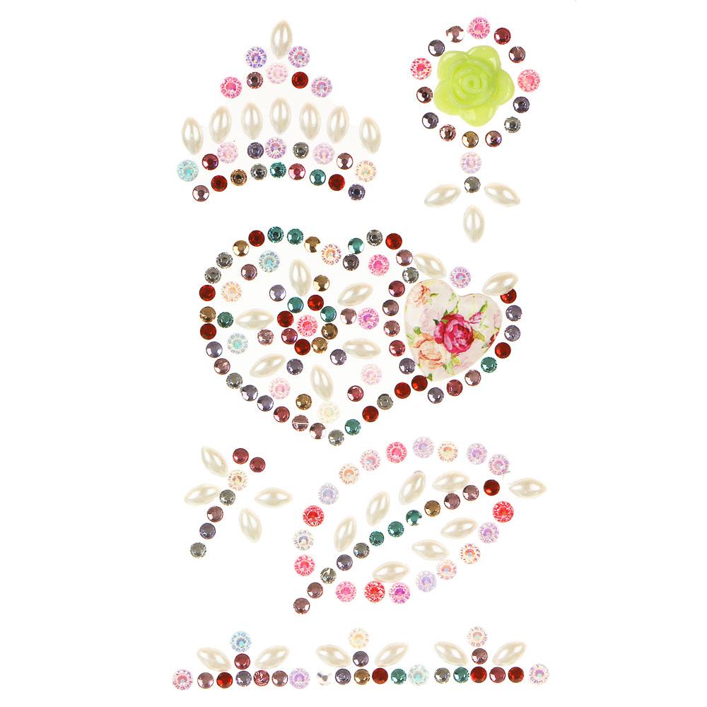 LADECOR Наклейка декоративная фигурные стразы, 18,5х8 см, ПВХ, 3 вида