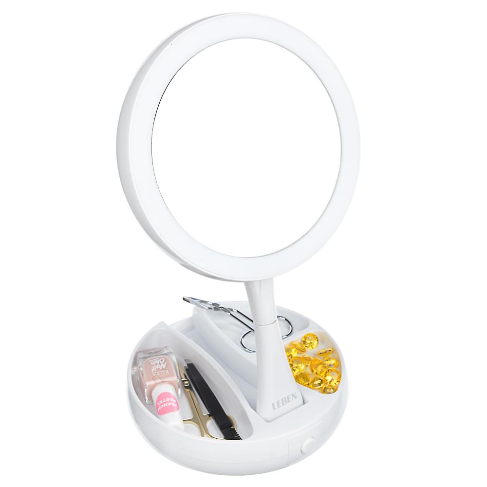 LEBEN Зеркало косметическое с подсветкой и отделением для хранения, USB/4хАА, пластик, стекло