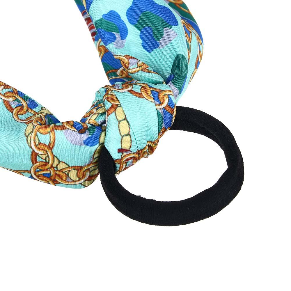 Резинка для волос с лентой, d.5 см, длина ленты 25 см,  2 дизайна