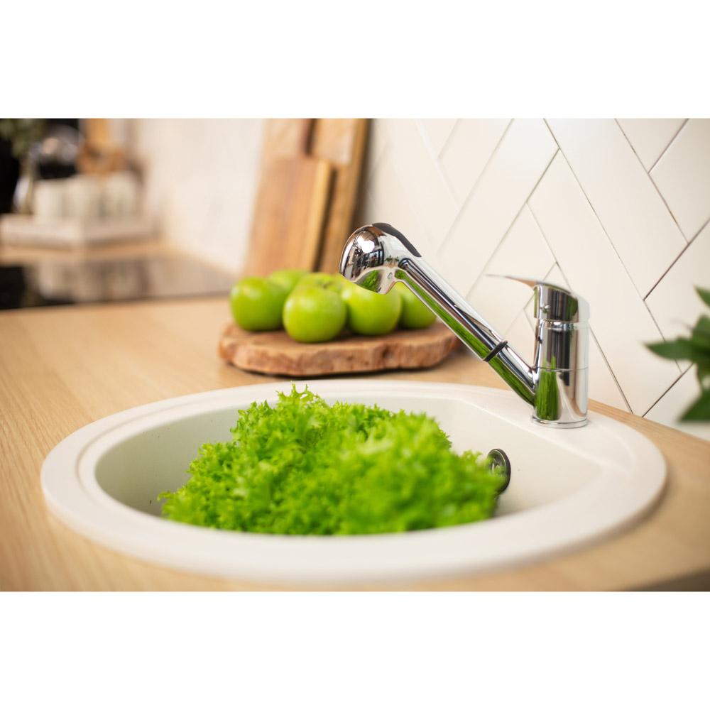 RAIN Смеситель для кухни Вега, низкий, с выдвижным изливом, картридж 40мм, латунь