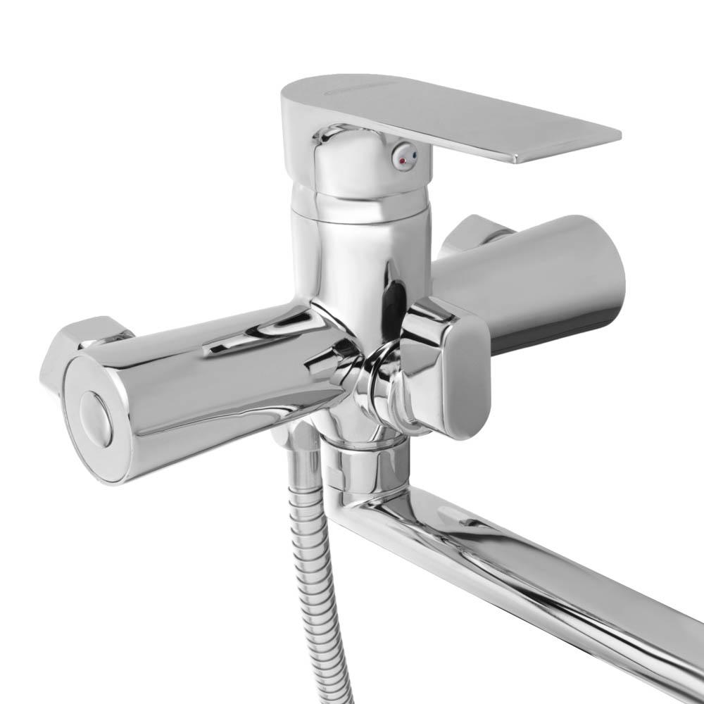 СоюзКран Смеситель для ванны SK1086, длинный излив 35см, с душ. набором, керам. картридж 35мм, цинк