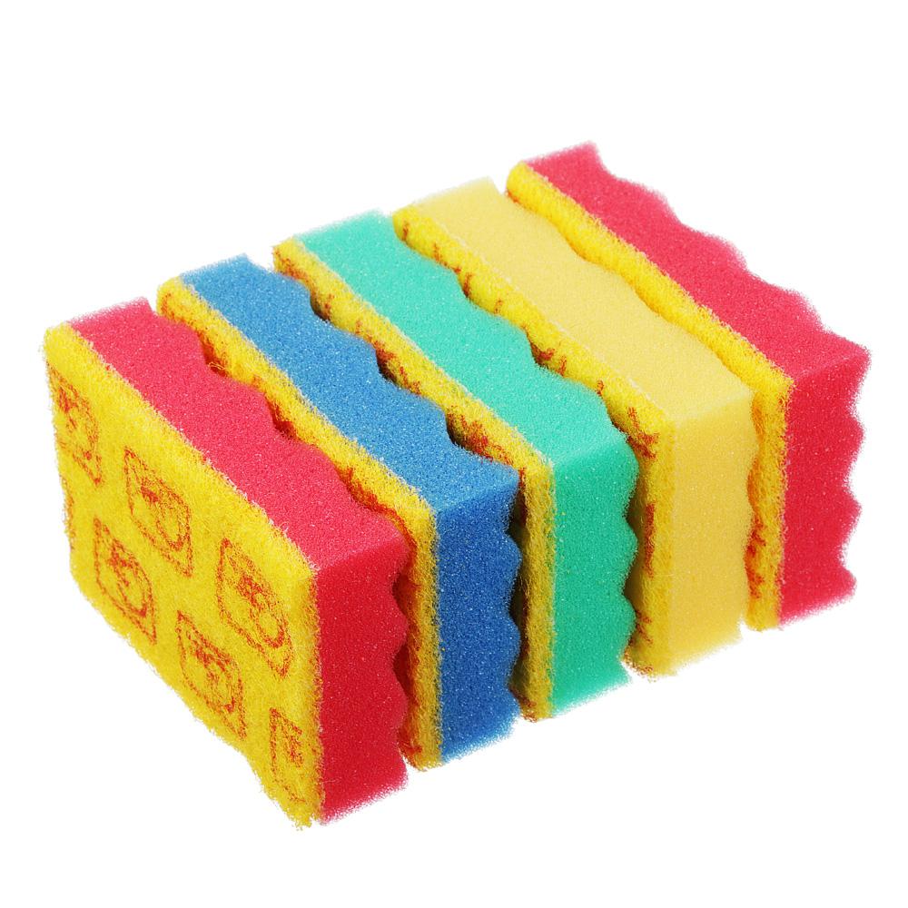 """GRIFON Губки для мытья посуды 5шт """"Волна"""", 9,5х6,5х2,5см, с индикатором замены, арт.910-039"""