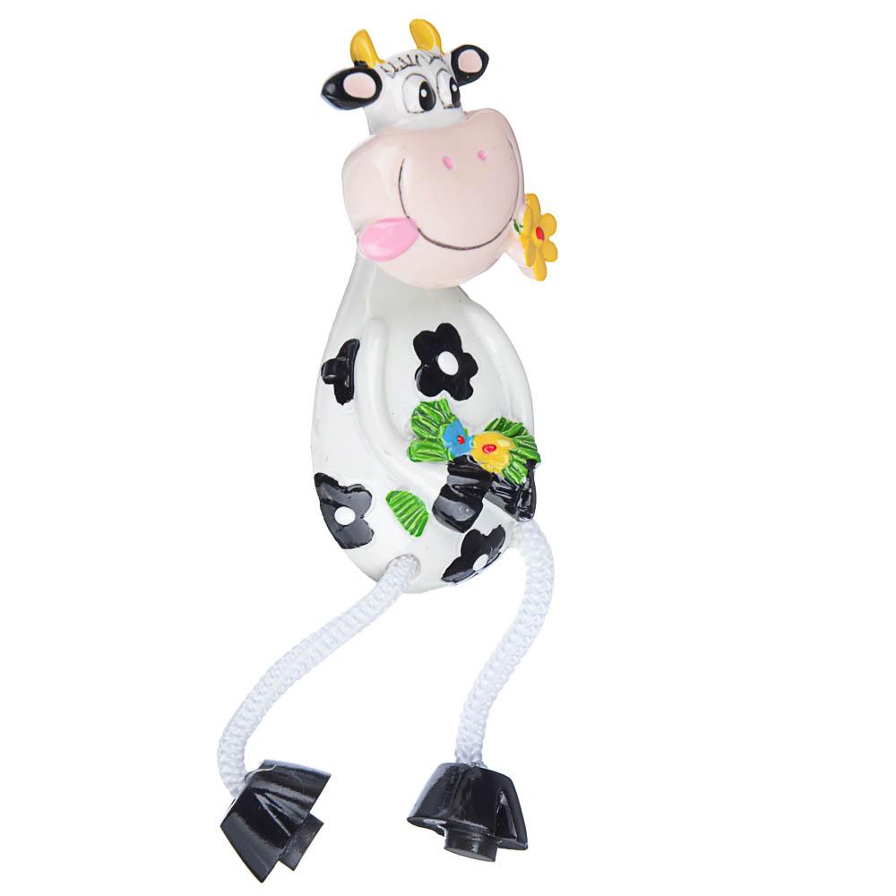 Магнит с ножками в виде коровки, 4x12,5x3см, полистоун