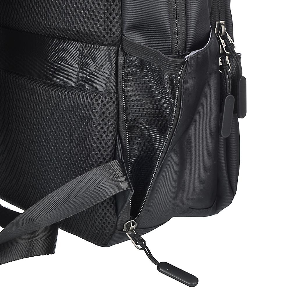 Рюкзак подростковый, 45x33x16см, 2 отд, 2 карм, ПЭ, иск.кожа, спинка с эргон.элем.,USB, чер.с серым