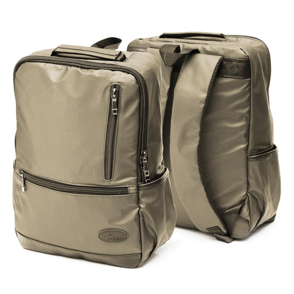 Рюкзак подростковый, 39,5x28x11см, 1 отд, 4 карм, многослойн.водоотталк.нейлон, иск.кожа, коричневый