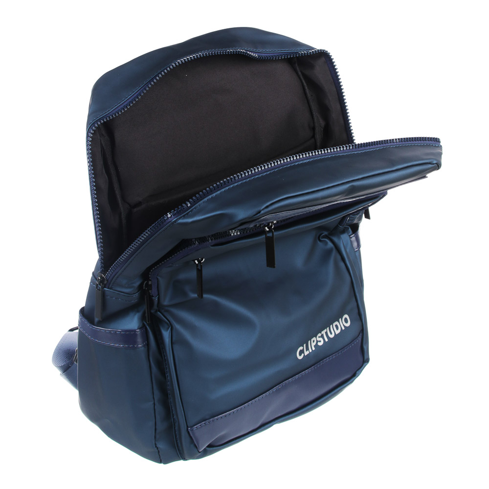 Рюкзак подростковый, 39x27x13см, 1 отд, 5 карм, многослойный водоотталк.нейлон, иск.кожа, синий