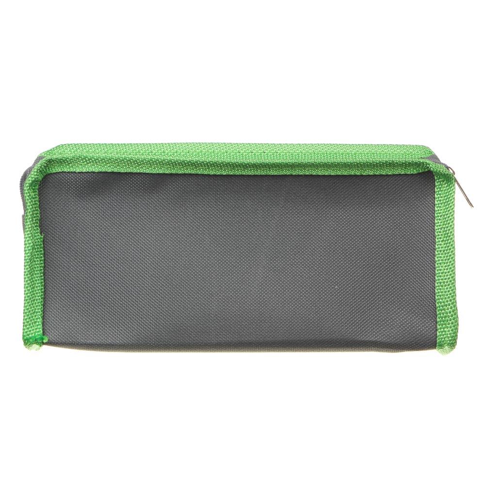 Варриор Пенал мягкий прямоугольный, 21х9х4,5см, ПЭ, 1 карман, вставка из иск.кожи с печатью