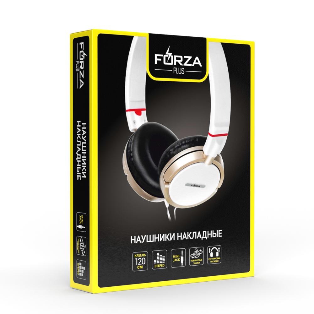 FORZA Наушники проводные ретро, накладные, поворотные, кабель 120см, пластик, 2 цвета