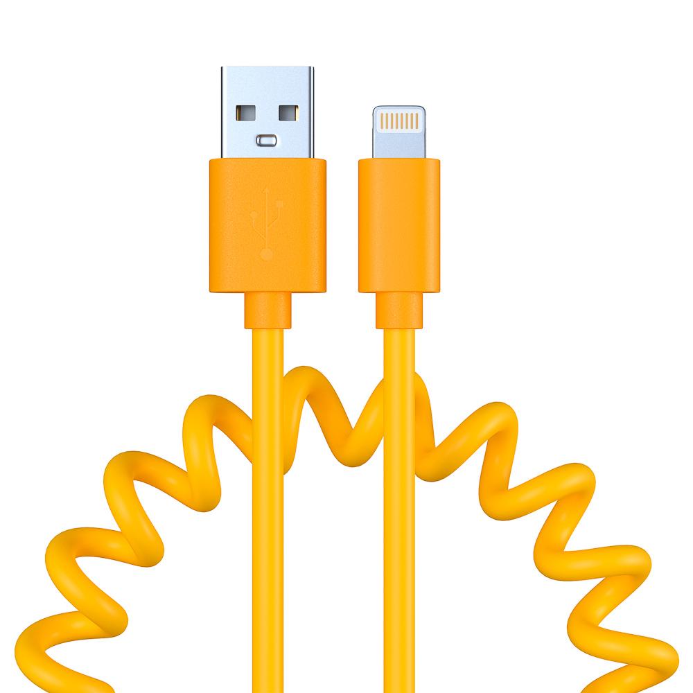 Кабель для зарядки FORZA Cпираль, iP, 1.5А, пластик, 5 цветов