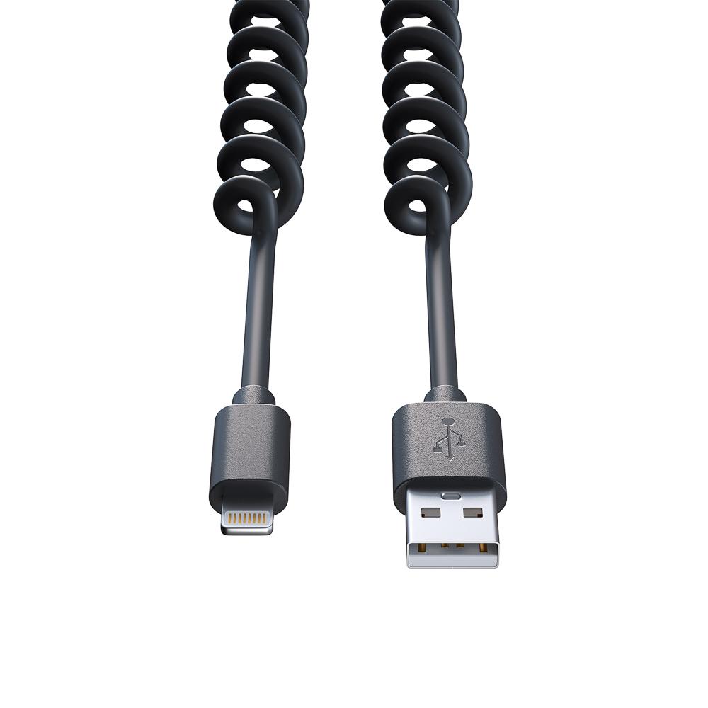 FORZA Кабель для зарядки, спиральный, оплетка PU, 1.5А, iP, пластик, 5 цветов