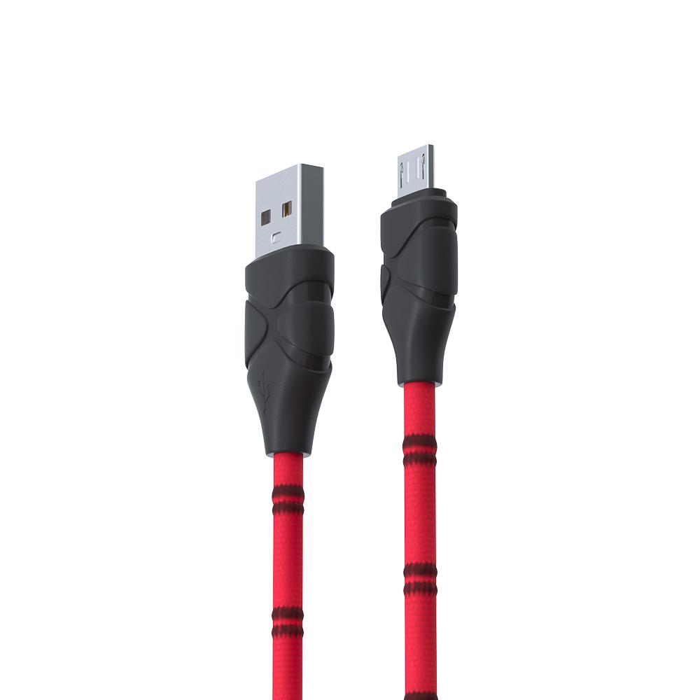 FORZA Кабель для зарядки, опл. тканная в полоску, 2А, Micro USB, 100см, пластик,3 цвета