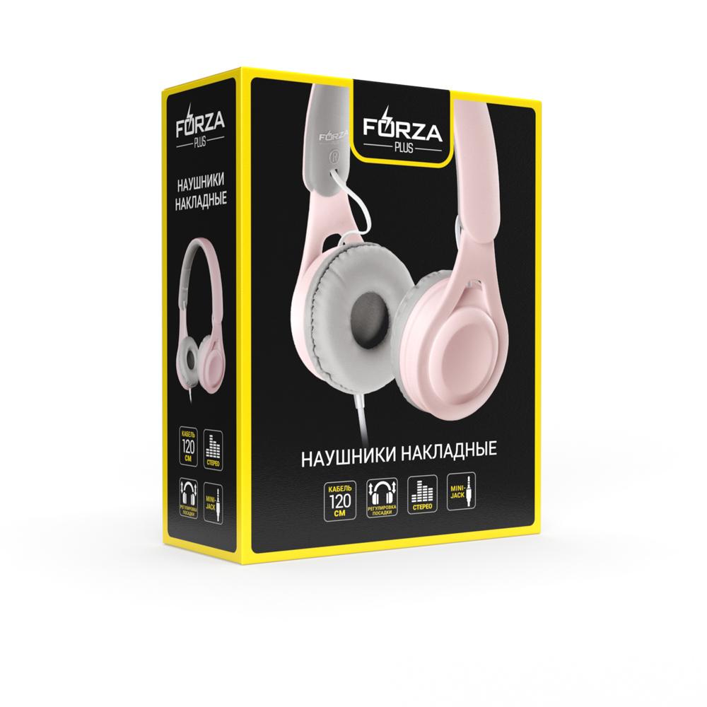 FORZA Наушники проводные накладные, кабель 120см, пластик, 2 цвета: розовый, голубой