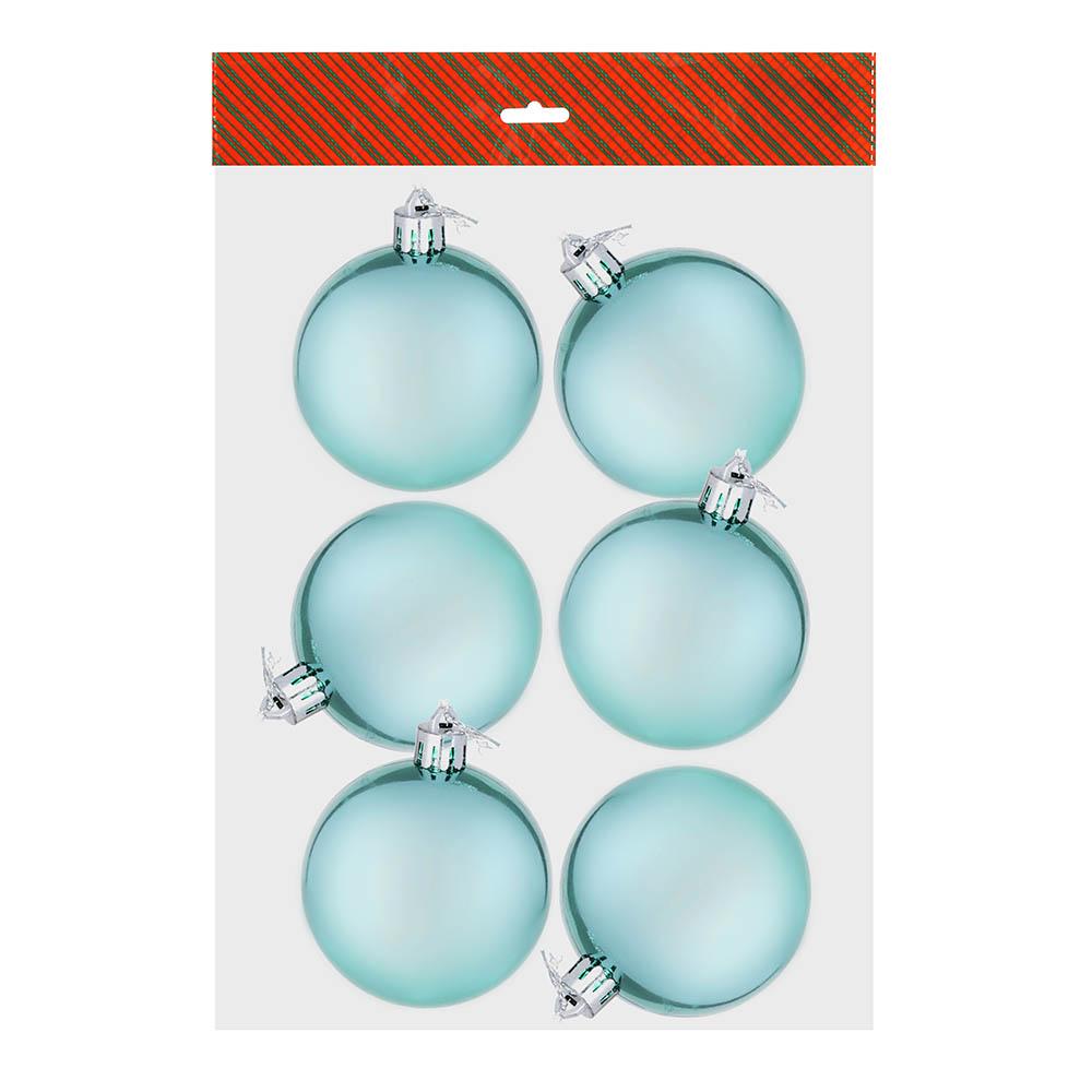 СНОУ БУМ Набор шаров 6шт, 6см, пластик, в пакете, голубой, глянец