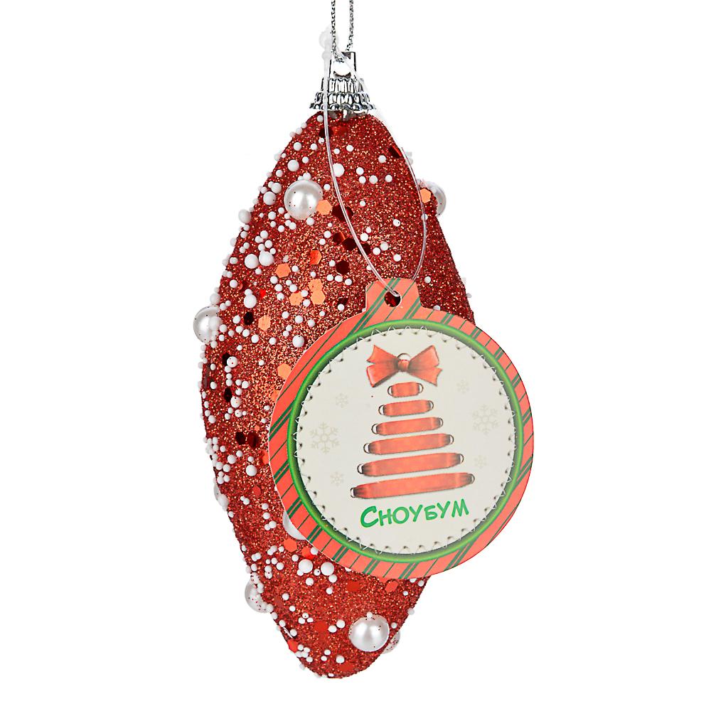 СНОУ БУМ Подвеска сосулька, 6х12 см, пластик, текстиль, 3 дизайна, красный