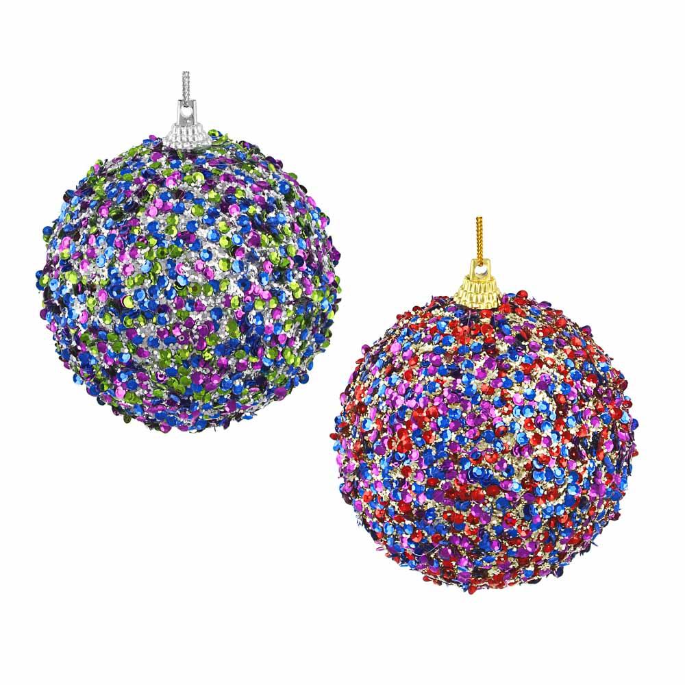 СНОУ БУМ Подвеска шар, 10 см, пластик, текстиль, 2 дизайна