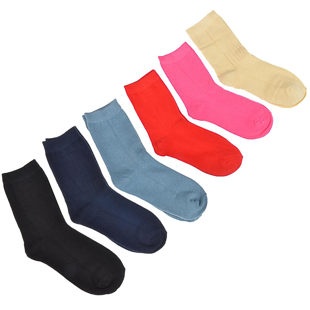 Носки подростковые, 85% хлопок, 15% полиамид, р-р 23-25, 6 цветов, НП20-1