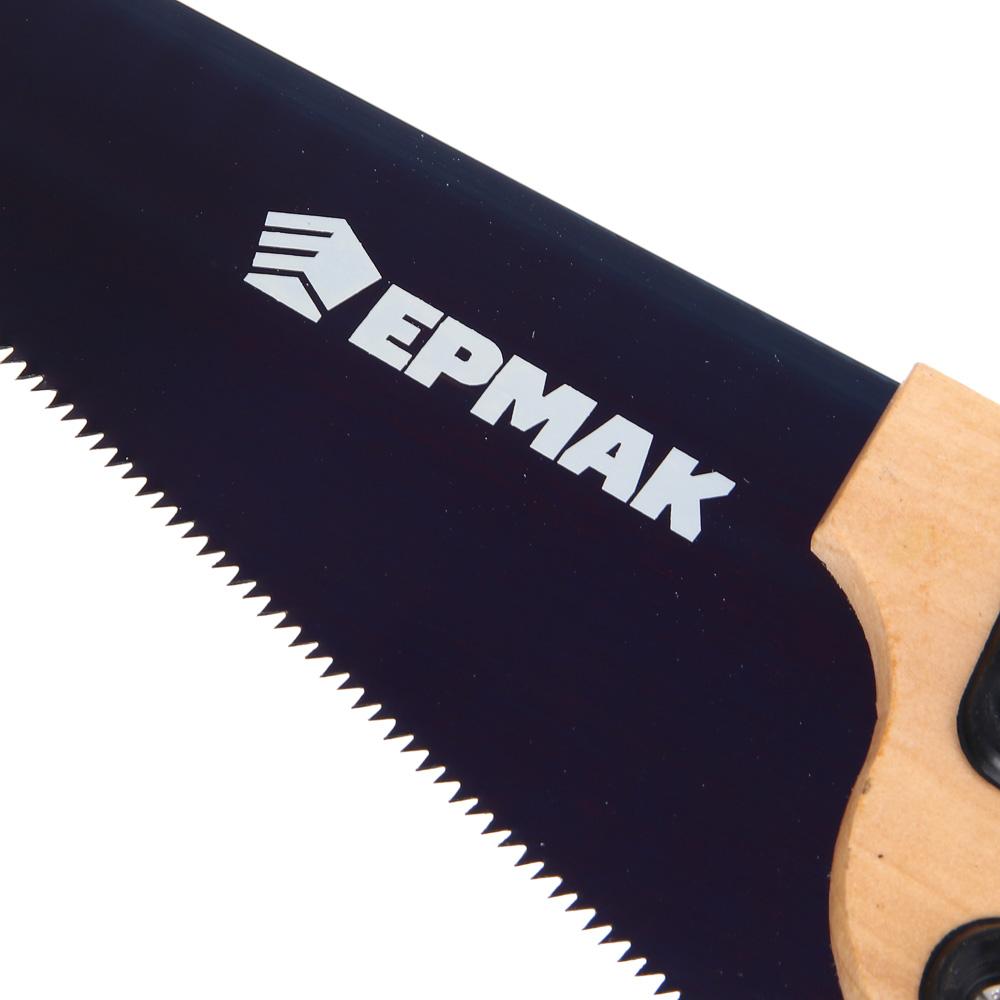 ЕРМАК Ножовка по дереву 350мм с деревянной обрезиненной ручкой, универсальный зуб, 4 мм