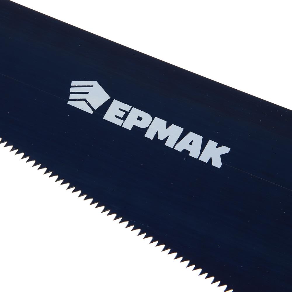 ЕРМАК Ножовка по дереву 450мм с деревянной обрезиненной ручкой, универсальный зуб, 4 мм