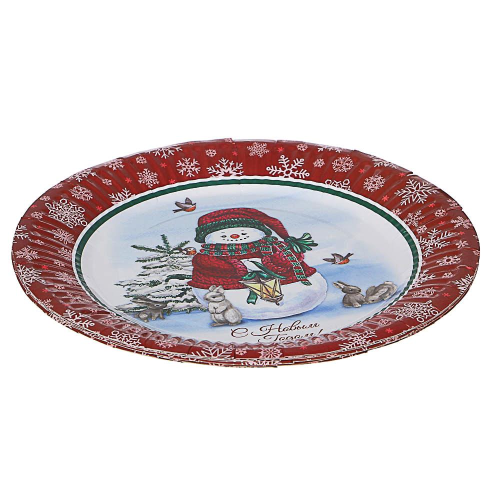 Набор бумажных тарелок 6шт, d18см, арт 4-1