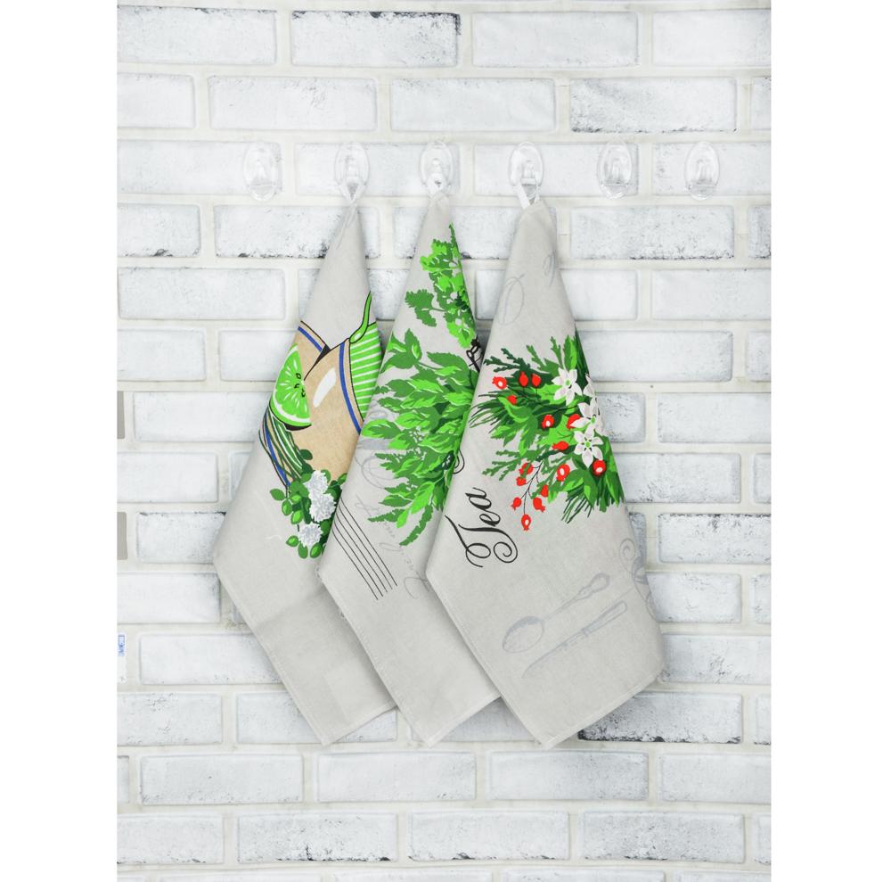 """PROVANCE Полотенце кухонное, рогожка, 100% хлопок, 45х60см, """"Полевые травы"""", 3 дизайна"""