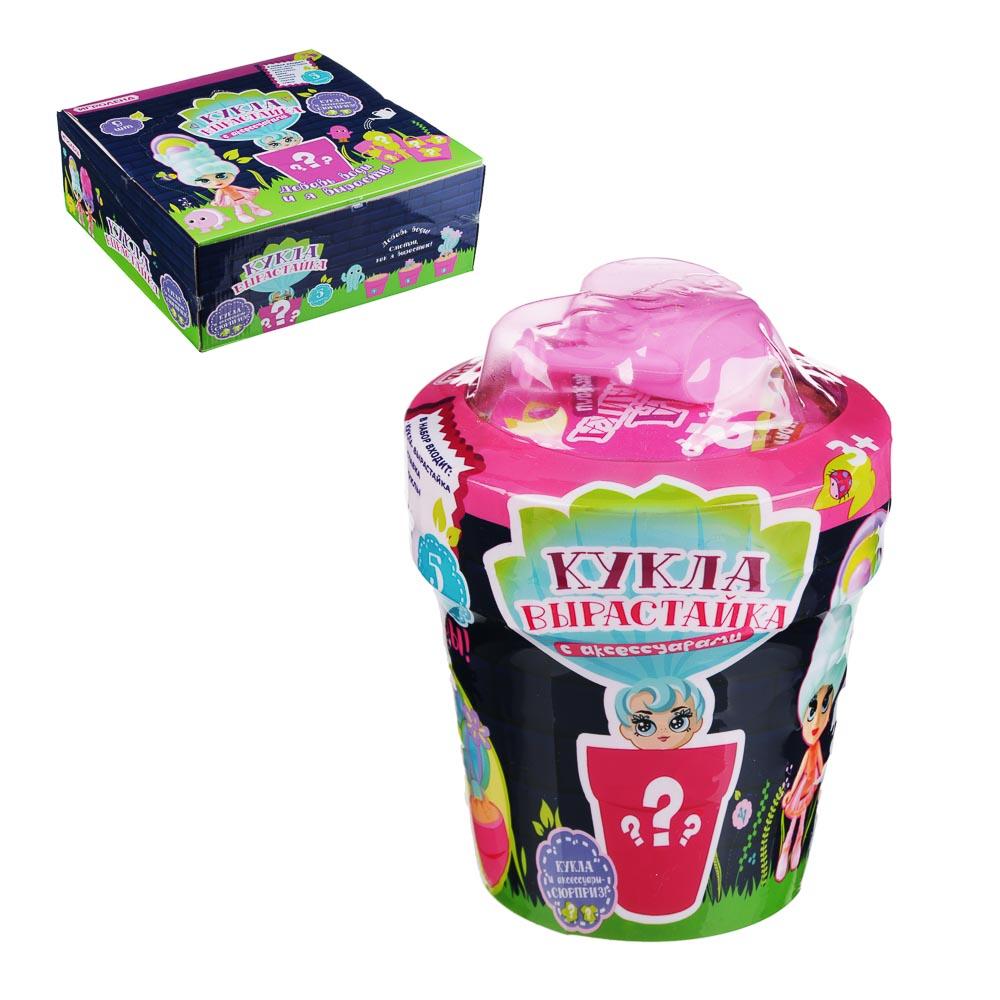 """ИГРОЛЕНД Кукла """"вырастайка"""" с аксессуарами, 14см, 5 пр., пластик, ПВХ, 9х11х9см, 6 дизайнов"""